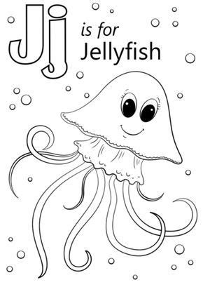 letter    jellyfish coloring page  letter