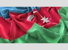 Azerbaijan Flag Ruffled Beautifully Waving Macro CloseUp