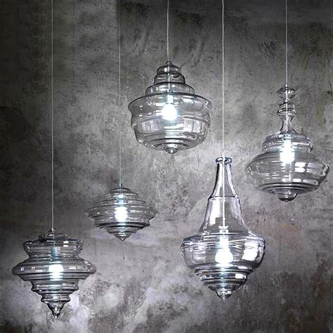 modern blown glass pendant lighting in chrome finish