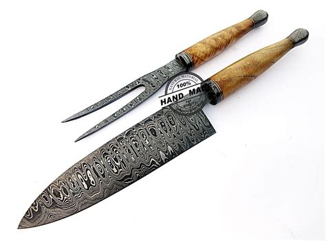 damascus kitchen knives chef steel custom handmade knife handle wood exotic sets 1726 chefs damascusknivesshop