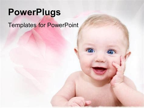powerpoint template happy baby  pink roses  family