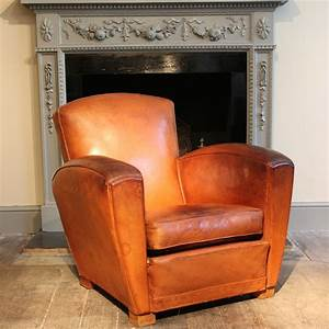 1930s40s French Leather Club Chair Leather Armchairs