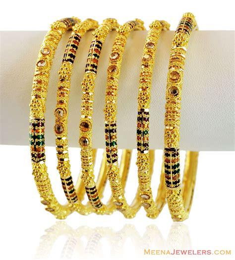 22k fancy meenakari bangles 4 pc bast15318 22k gold meenakari bangles set of 4 designed
