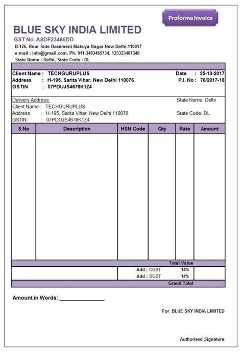 proforma invoice format  excel gst