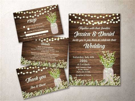 Barn Wedding Invitations : Rustic Wedding Invitation Kit Printable Barn Wedding