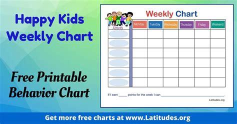 weekly behavior chart happy kids acn latitudes