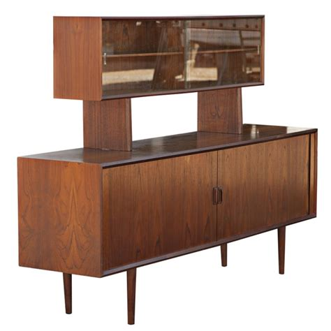Teak Wood Bookcase by Mid Century Modern Danish Credenza With Floating Hutch For