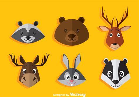 Cartoon Animal Head Icons Vector