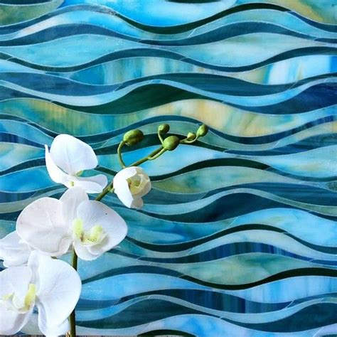 blue green teal  yellow wave glass tile mosaic