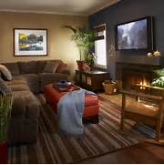 Room Design Fireplace Window Treatments Sectional Sofa Wall Decor Beautiful Rich Color What Color Paint Was Used For The Accent Wall Blue Accent Walls In Living Room Interior Painting Red Canary Colorful Clever Small Spaces From HGTV Interior Design Styles And