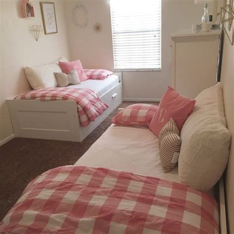 ikea beds tiny space  girl room pink  gold