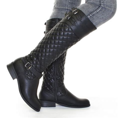 womens black biker boots womens biker boots black leather style quilted size 5 10