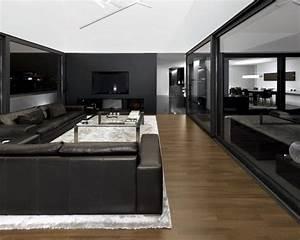 Salon noir et blanc et salon gris en 50 photos remarquables for Tapis kilim avec canape cinema maison