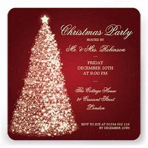 Elegant Christmas Party Gold Tree Red Invitation