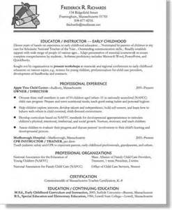 Early Childhood Educator Resume Skills by Early Childhood Education Sle Resume Related