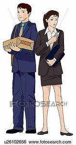 Stock Illustration of Business man and woman standing with ...
