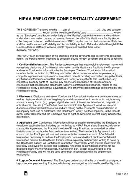 hipaa employee confidentiality agreement  word