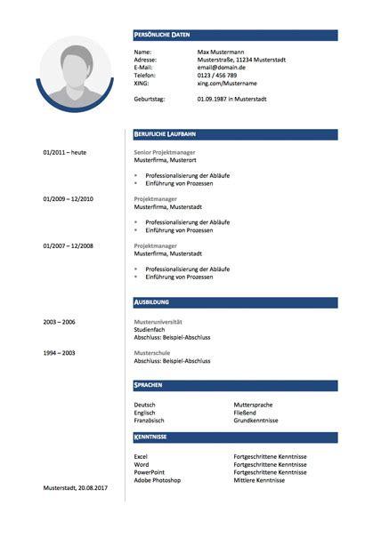 Lebenslauf Heute Muster by Lebenslauf Vorlage Xing Papac Info