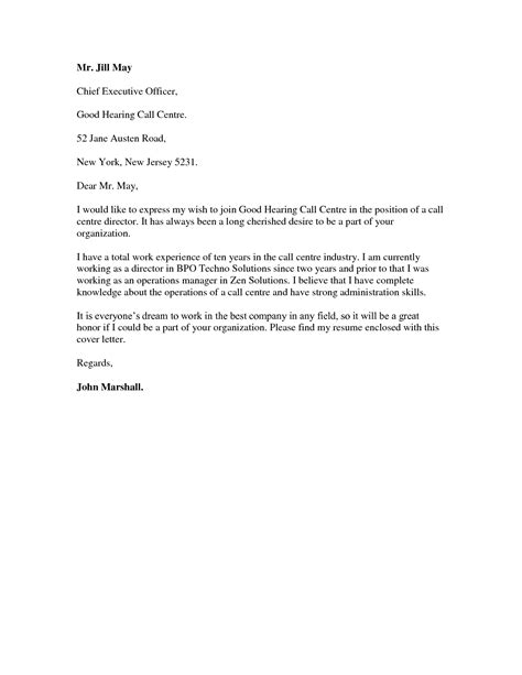 Cover Letter For A Call Center by Resignation Letter Formal Resignation Letter For Call