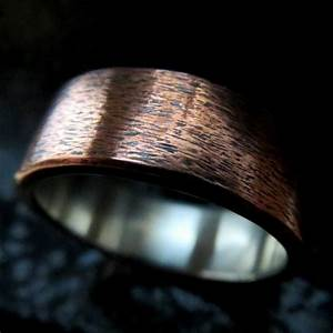 mens wedding ring unusual rustic steampunk subtle texture With mens copper wedding rings