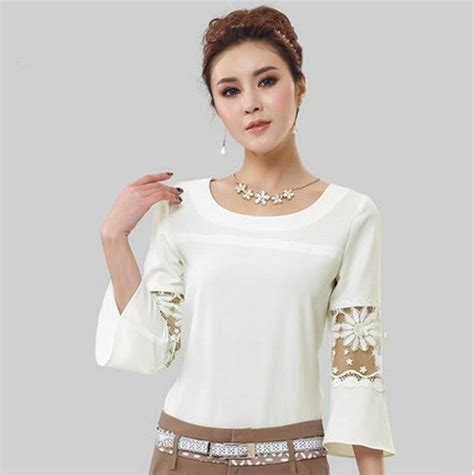 womens blouses 2014 womens chiffon lace hollow crew neck casual shirt