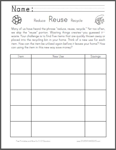 personal finance chart free printable recycling worksheets for kindergarten
