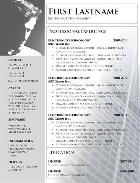 Make Resume Free No Charge by No Charge Cv Template To Print In Word Format 1060 Get