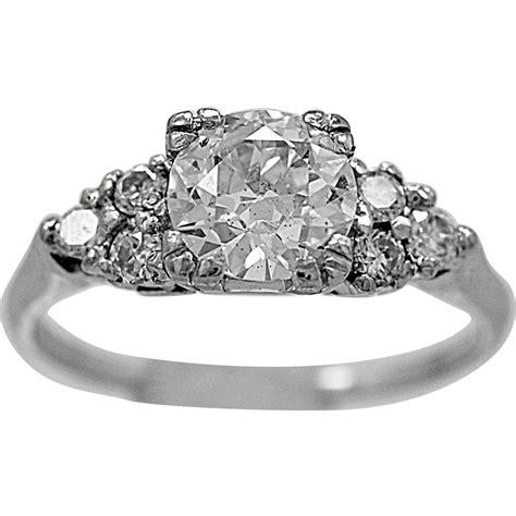 antique engagement ring ct diamond platinum art deco