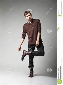 Young Male Fashion Model Posing In Casual Outfit Stock ...