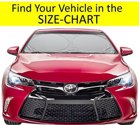 windshield sun shade hassle  size chart  truck suv minivan uv protector cover shields