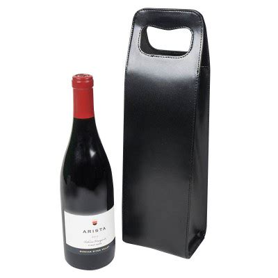leather wine tote single bottle black  iwa