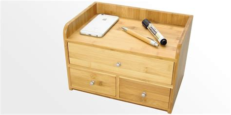 desk organiser with 3 drawers bamboo office supplies