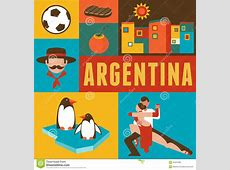 Argentina Poster And Background With Set Of Icons Stock