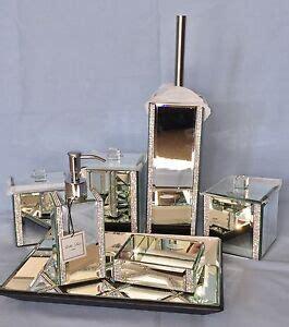 Mirrored Bathroom Accessories Sets by 7pc Mirrored Rhinestone Bathroom Bath