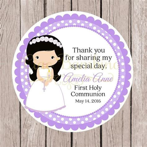 printable girls  holy communion favor tags  lavender print   personalized