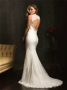 classic slim mermaid v neck lace beaded wedding dress with With open back mermaid wedding dresses