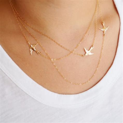 Silver, gold, and wrapping styles! Sterling Silver Flying Birds Necklace, Three Layered ...