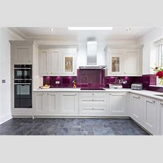 Milton Inframe Kitchen With Aubergine Glass Splash Backs