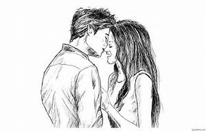 Simple Boy And Girl Pencil Drawing Hug Pic Pencil Sketch ...