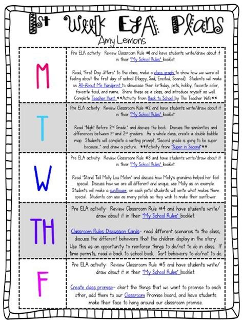 first week lesson plan ideas for 2nd grade i chose this