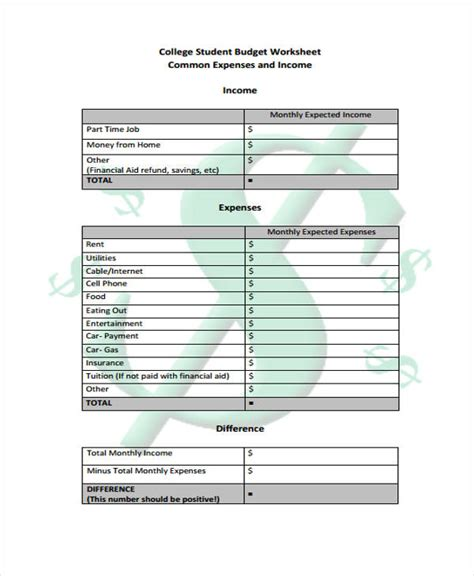 student budget templates  sample