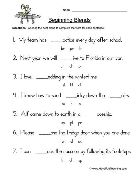 beginning blends worksheet  blends worksheets