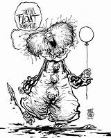 Pennywise Clown Coloring Pages Scary Clowns Sketch Template sketch template