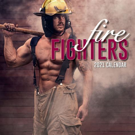 firefighters  square wall calendar  month