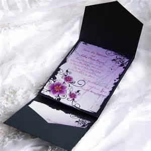 wedding stationery purple floral pocket wedding invitation ewpi006 as low as 1 69