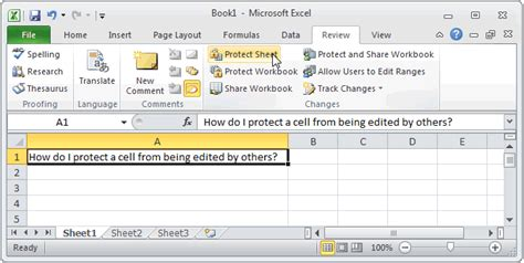 ms excel 2010 protect a cell