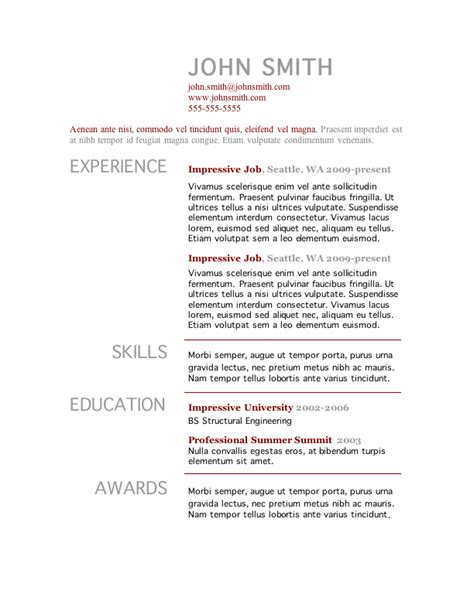 One Page Resume Template Word Free by 7 Free Resume Templates Primer