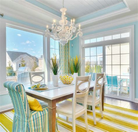 cheerful beach cottage  turquoise color scheme home