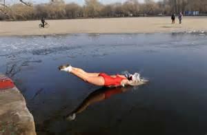 Women Swimming Lake