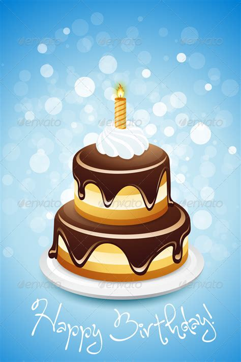 Happy Birthday Card With Cake By Vvad Graphicriver